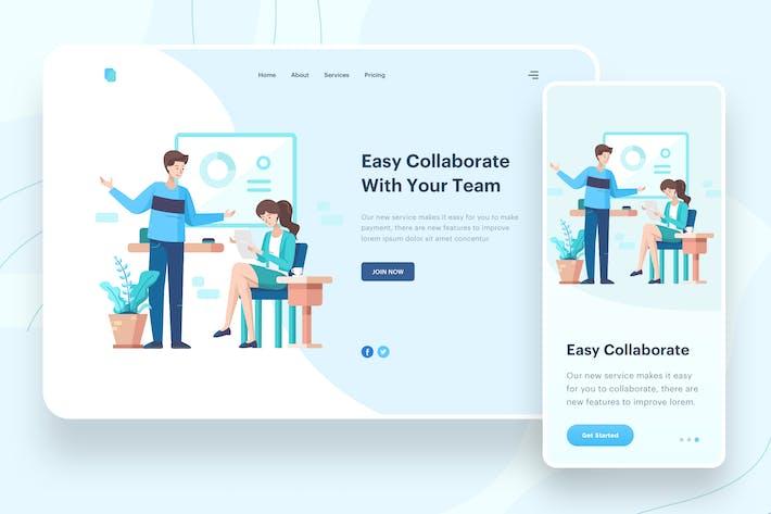Thumbnail for Easy Collaborate Illustration - Website Header