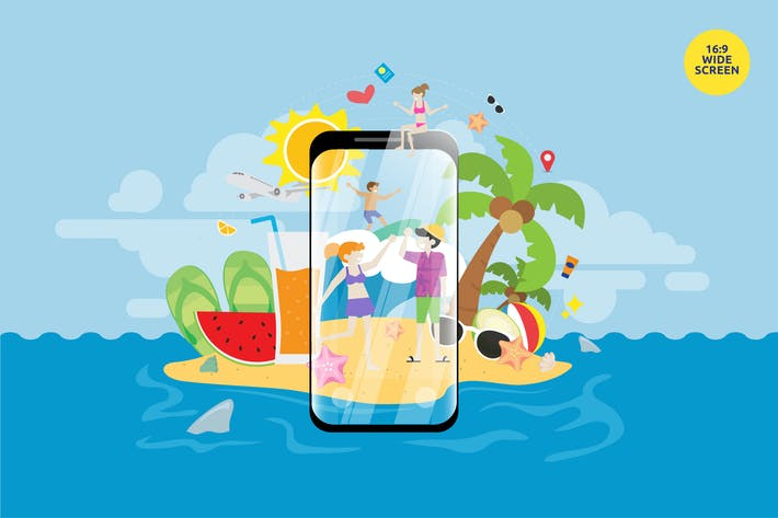 Thumbnail for Summer Holiday Travel Mobile Apps Vector Concept