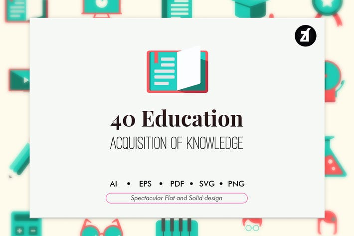 Thumbnail for 40 Education elements in flat and solid design