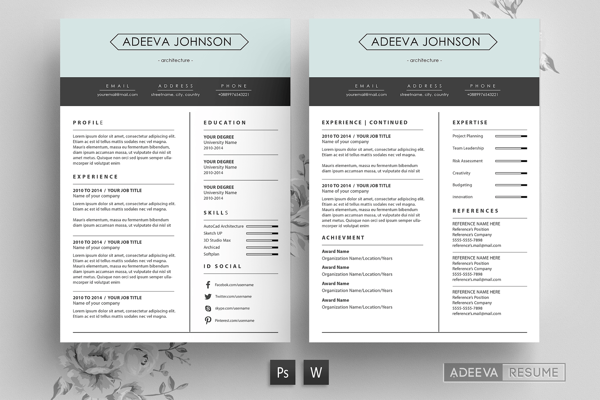 Clean Resume Template Johnson By Letterhend On Envato Elements