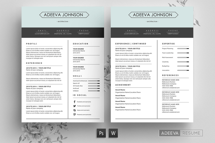 Thumbnail for Clean Resume Template Johnson