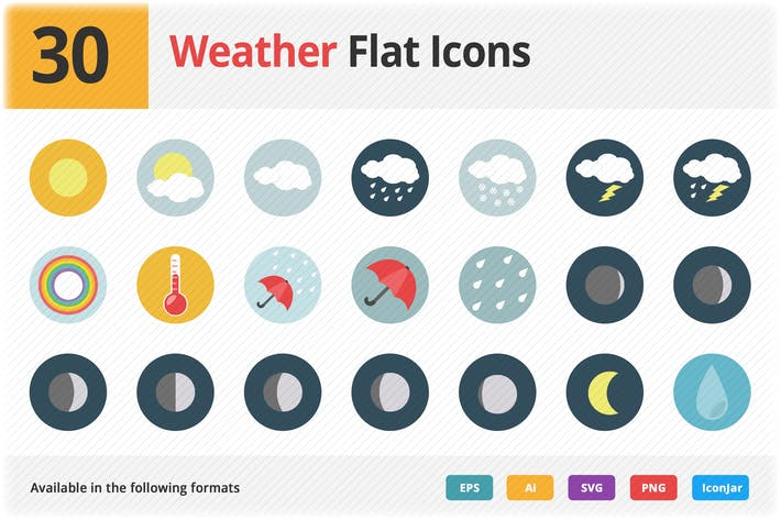 Thumbnail for Weather Flat Icons Vol 1