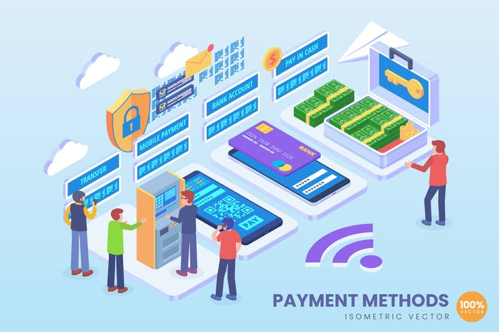 Thumbnail for Isometric Secure Payment Method Vector Concept