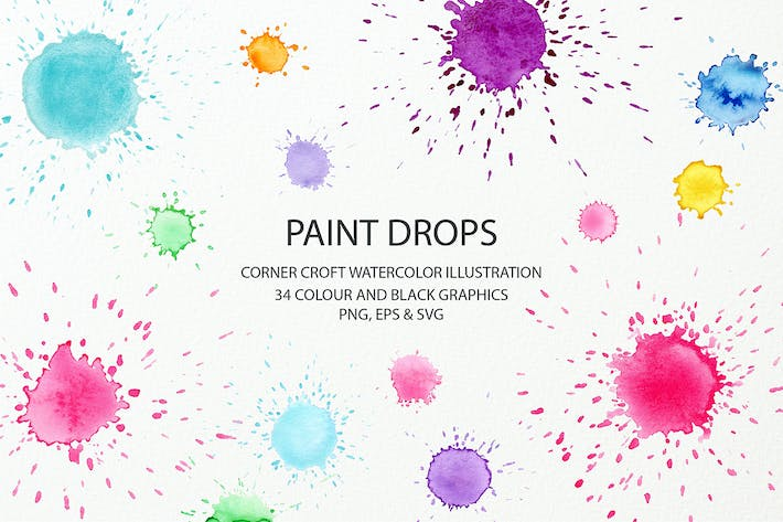 Thumbnail for Watercolor Paint Drop Collection