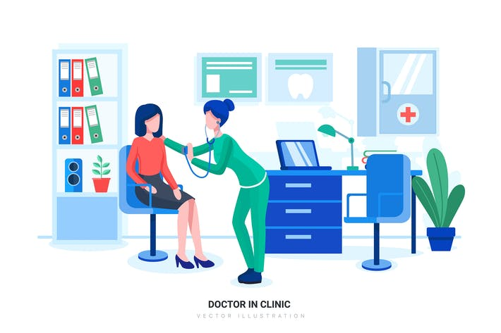 Doctor in Clinic Vector Illustration