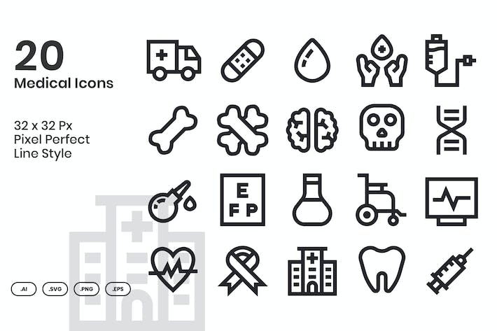 Thumbnail for 20 Medical Icons Set - Line