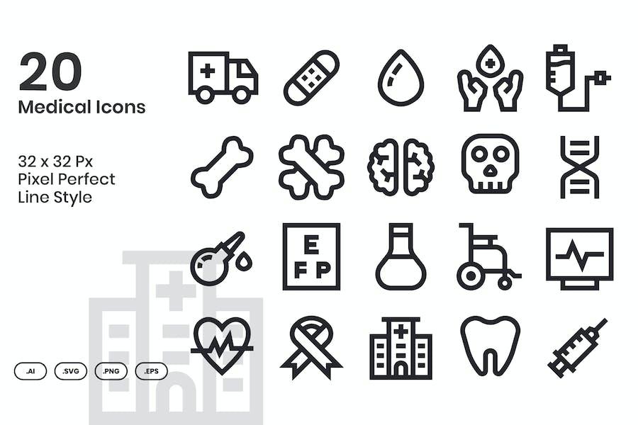 20 Medical Icons Set - Line
