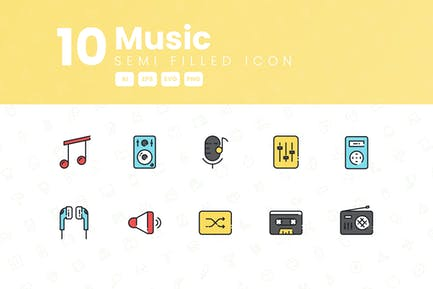 10 Music Semi Filled Icon Collection
