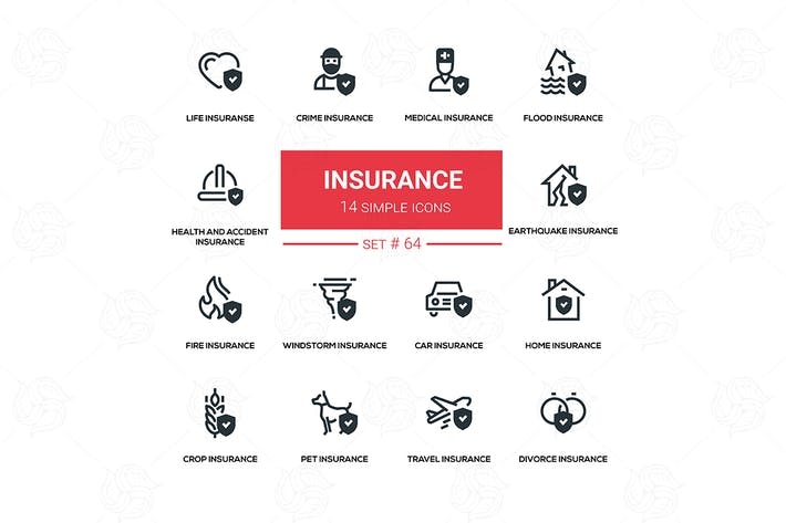Thumbnail for Insurance concept - vector set of icons