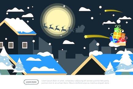 Ilustración de Navidad de Village & Santa Silhouette