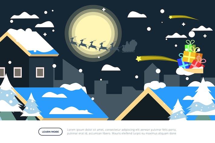 Dorf- und Weihnachtsmann-Weihnachts-Illustration