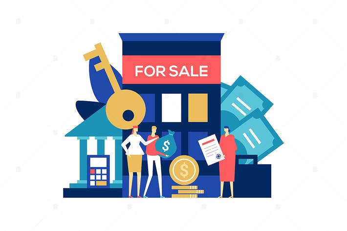 Thumbnail for Real estate deal - flat design style illustration