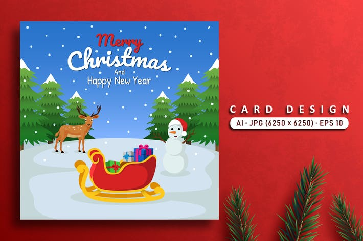 Cover Image For Merry Christmas Card With Deer And Snowman