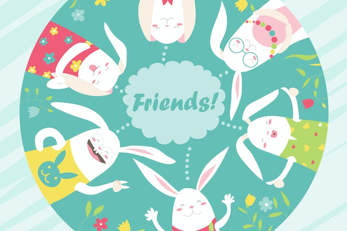 Thumbnail for Illustration of cartoon funny rabbits. Vector