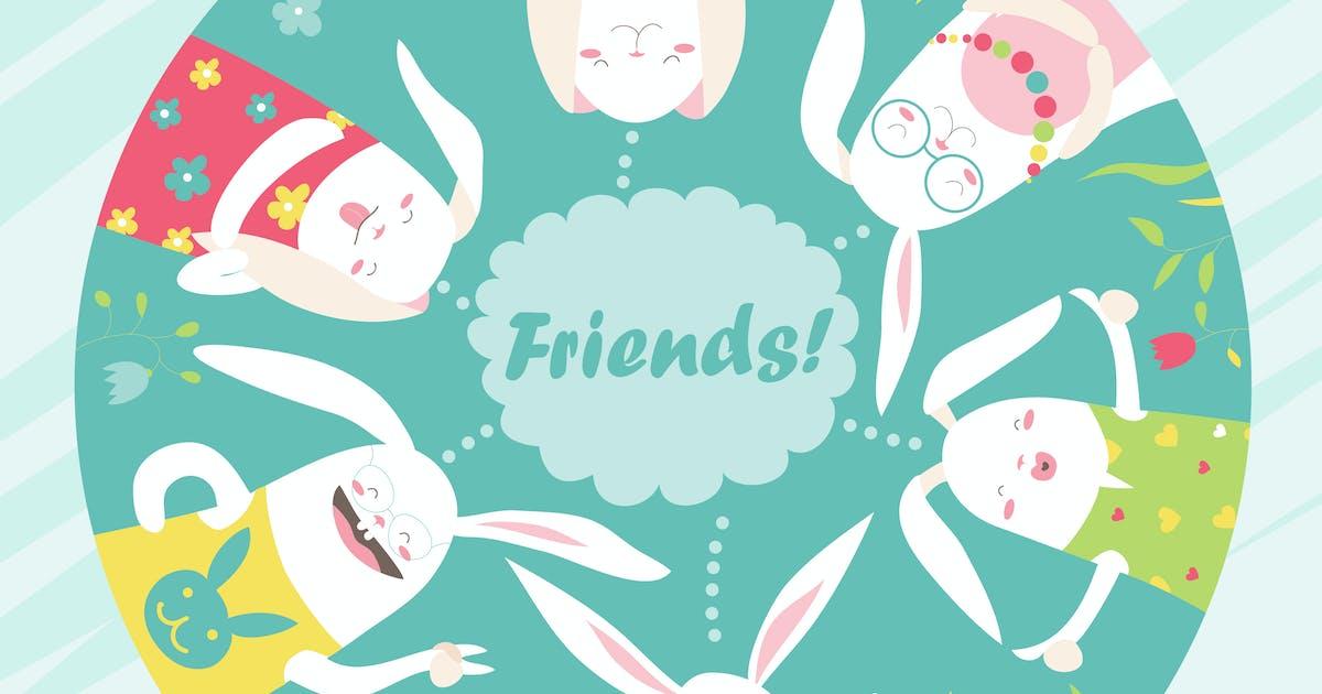 Download Illustration of cartoon funny rabbits. Vector by masastarus