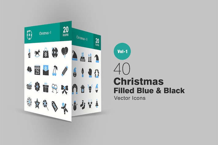 Thumbnail for 40 Christmas Blue & Black Icons