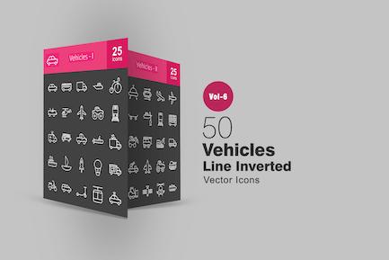 50 Fahrzeuge Linie invertierte Icons