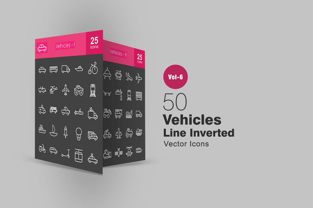 50 Vehicles Line Inverted Icons