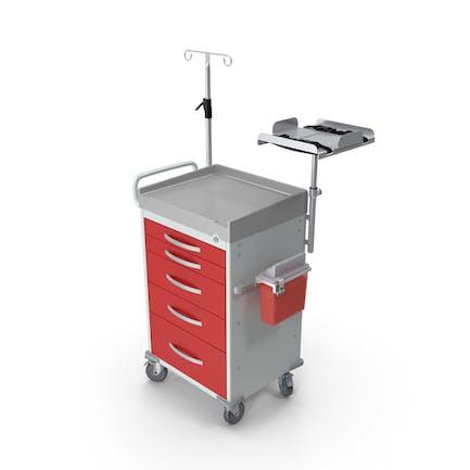 Carro médico con estante de desfibrilador