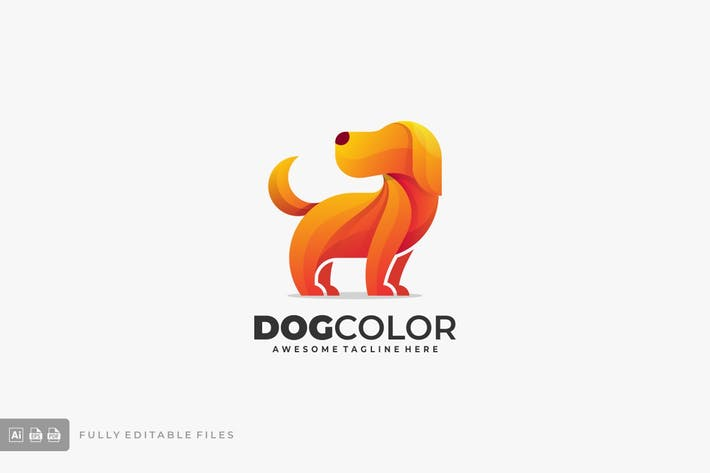 Cute Dog Colorful Logo Template
