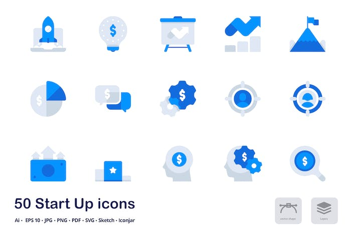 Start Up Accent Duo Tone Flat Icons