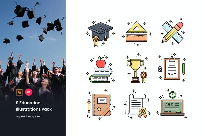 Thumbnail for Education Illustrations Pack