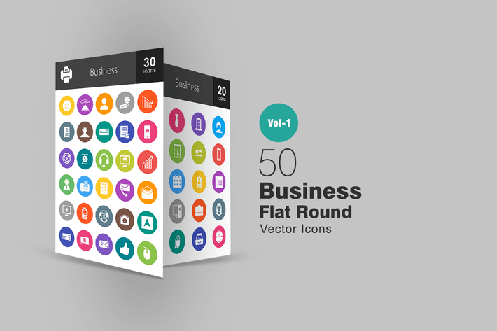 Thumbnail for 50 Business Flat Round Icons