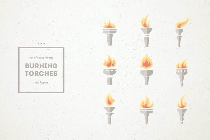 Thumbnail for Set of Burning Torch Icons