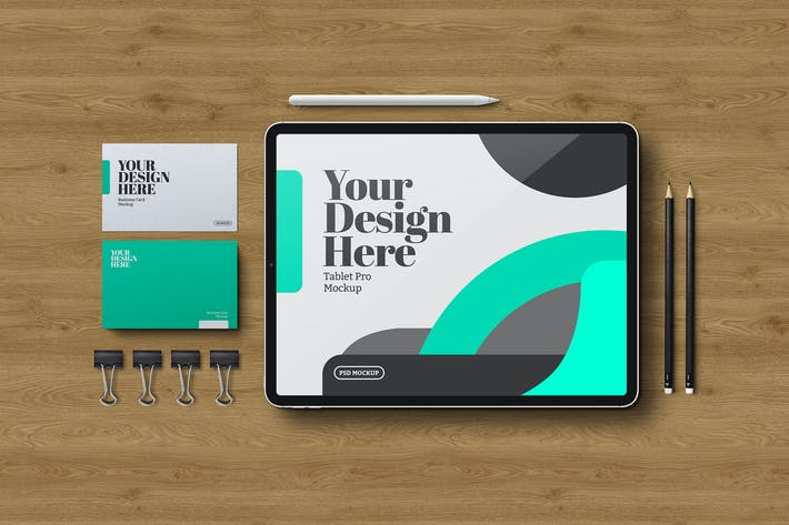 Thumbnail for Tablet & Stationery Mockup