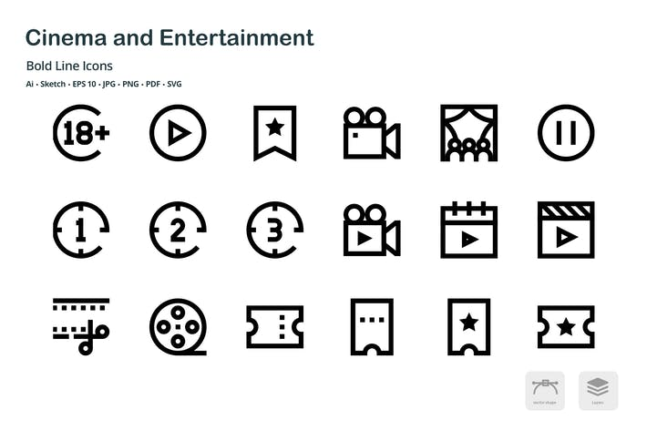 Thumbnail for Cinema and Entertainment Bold Line Vector Icons