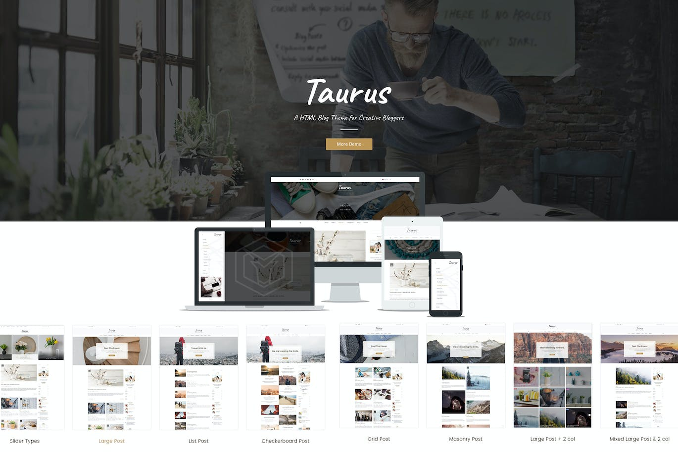 Taurus Personal Blog HTML Template by CreativeWS on Envato Elements