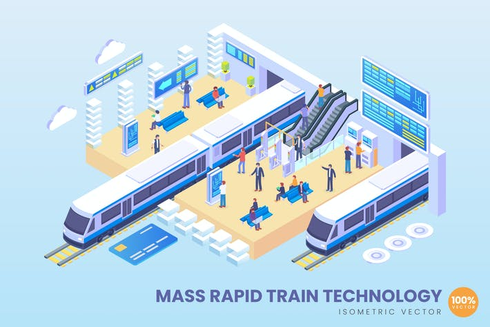 Isometric Mass Rapid Train Technology Vector