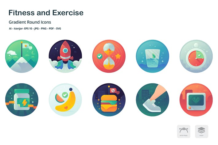 Thumbnail for Health and Fitness Gradient Round Icons
