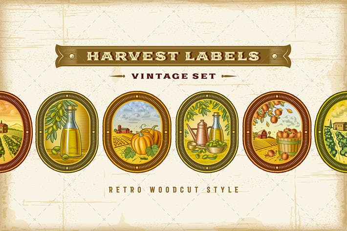 Thumbnail for Vintage Colorful Harvest Labels Set