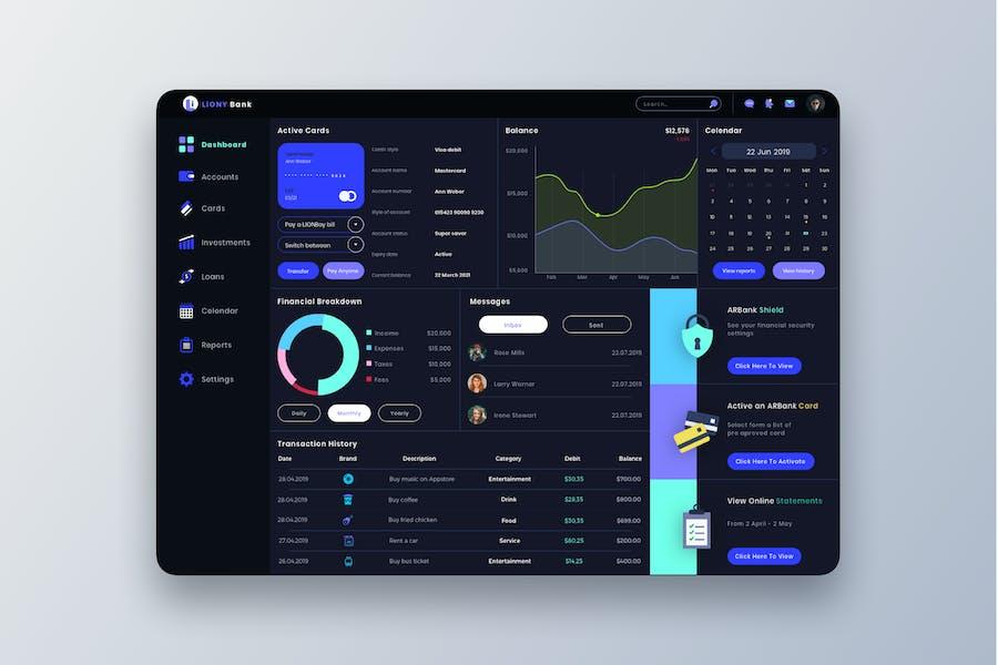 LIONY Bank Dashboard UI - T