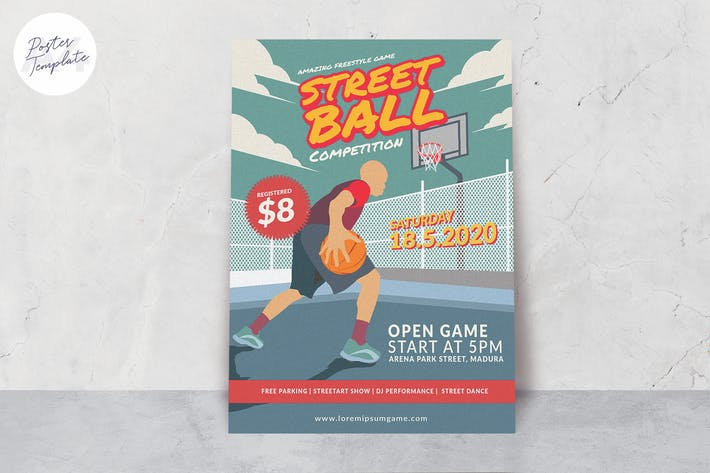 Thumbnail for Street Basket Ball Poster Template