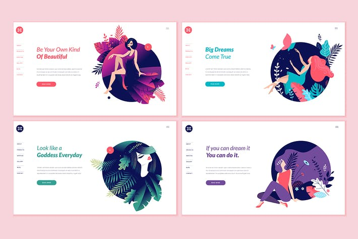Thumbnail for Set von Beauty Web Page Design-Vorlagen