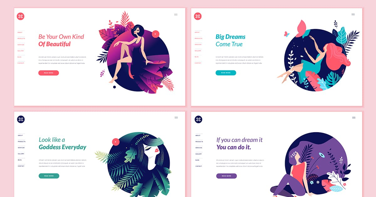 Download Set of Beauty Web Page Design Templates by PureSolution