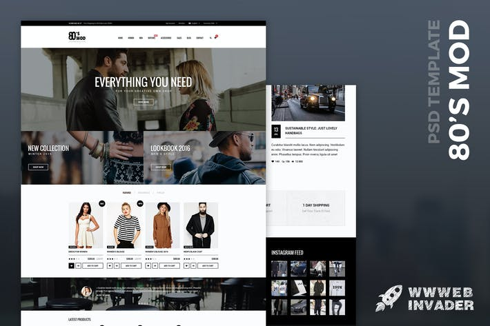 Thumbnail for 80's MOD - eCommerce PSD Template