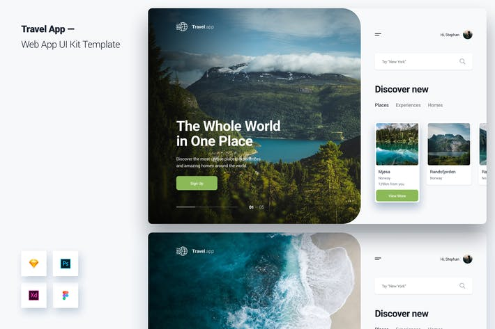 Thumbnail for Travel App Web App UI Kit Template
