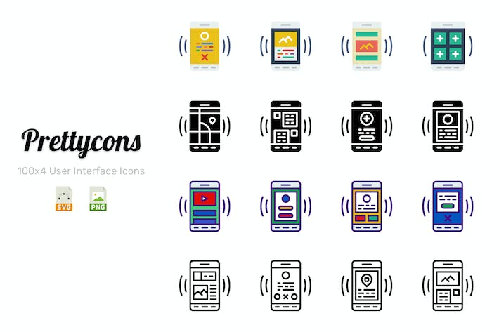 Thumbnail for Prettycons - 400 User Interface Mobile Icons Vol.1