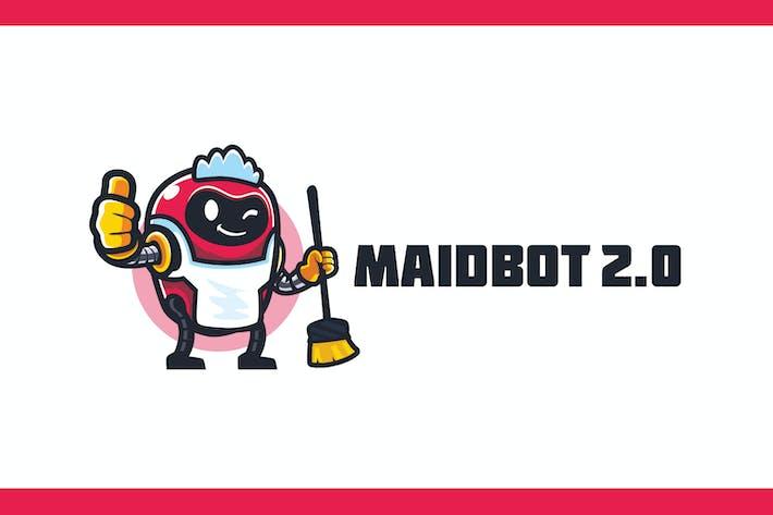 Thumbnail for Cartoon Robot Maid Mascot Logo