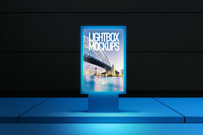Thumbnail for 3D Lightbox Poster Outdoor Mock-up