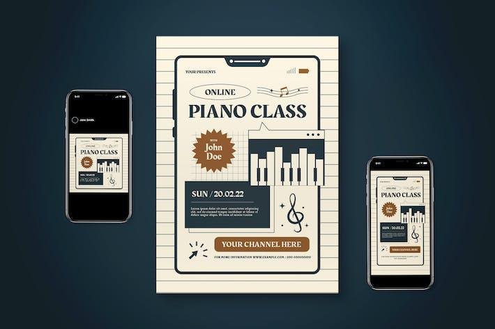 Jeu de dépliant de classe piano en ligne