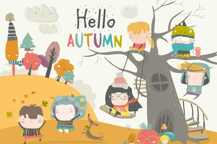 Cover Image For Happy children playing in autumn park. Hello autum