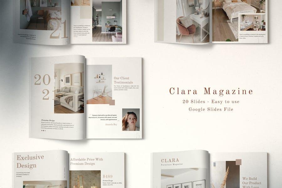 Clara Minimalist Magazine Layout Google Slides