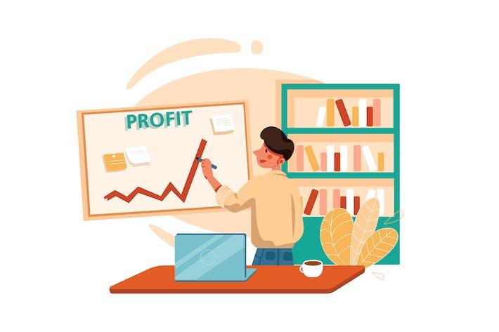 Thumbnail for Businessman drawing profit line