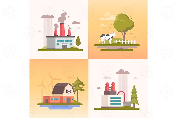 Thumbnail for Ecology - set of flat design style vector banners