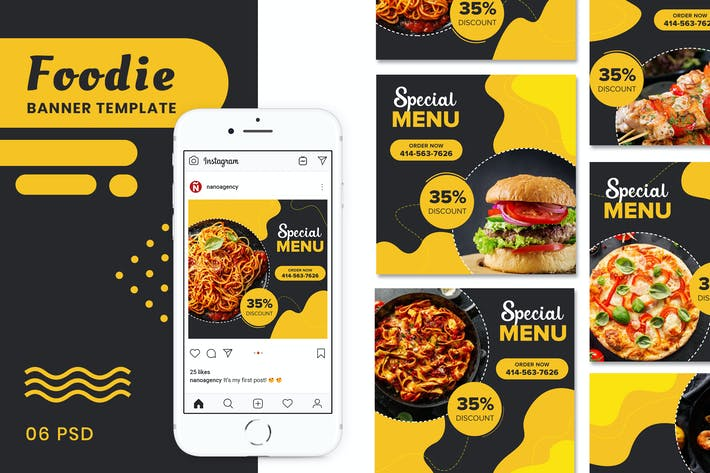 Thumbnail for Food  Banner Social Media Post Templates