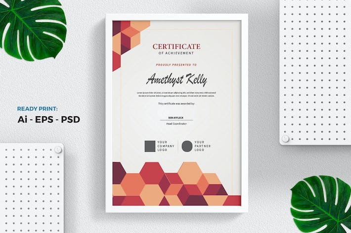 Thumbnail for Hexagon orange Certificate / Diploma Template